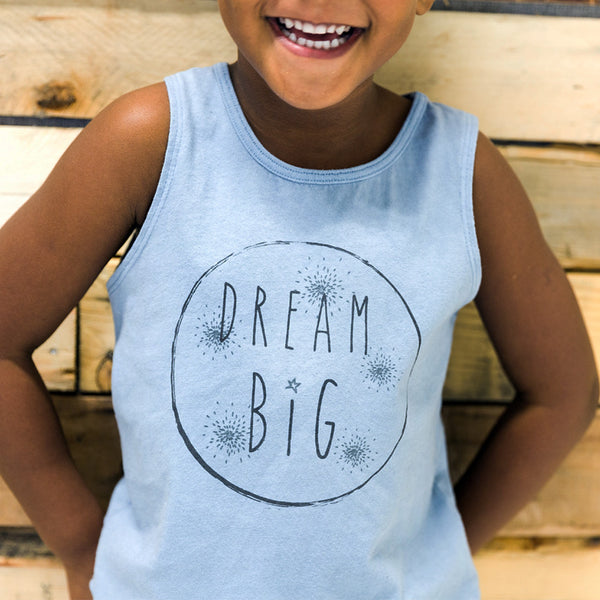 "Organic soft blue cotton tank with ""dream big"" graphic"