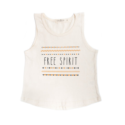 "Organic ivory cotton tank with ""free spirit"" graphic"