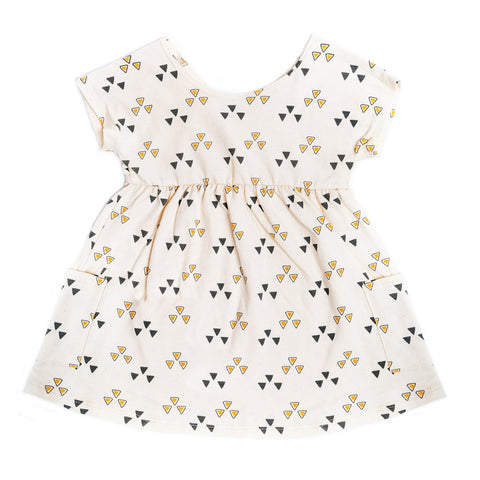 "Organic ivory cotton dress with ""triangle"" print"