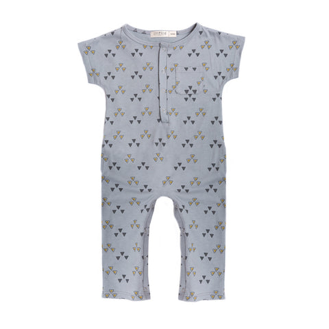 "Organic light grey cotton playsuit with ""triangle"" print"
