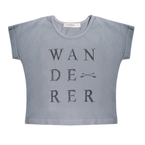 "Organic light grey cotton tee with ""wanderer"" graphic"