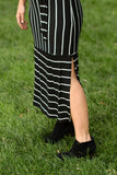 Ashlyn Striped Midi Dress in Black with White Stripes