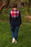 Meagan Plaid Half Zip Pullover in Rosey