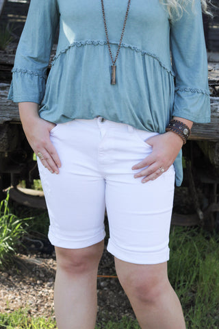 Distressed Bermudas in White