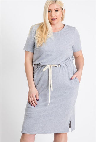 Plus Size Julia Drawstring Waist T-Shirt Dress in Heathered Grey