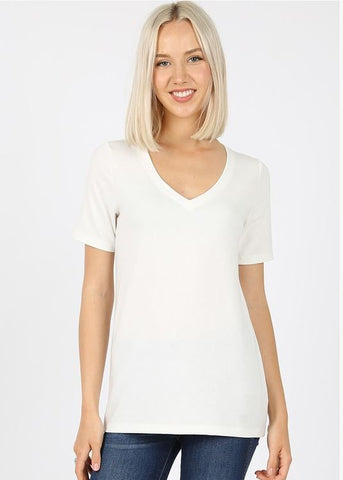 V-Neck Basic Tee in Ivory