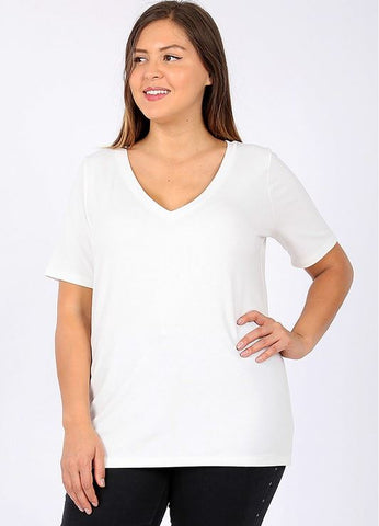 Plus Size V-Neck Basic Tee in Ivory