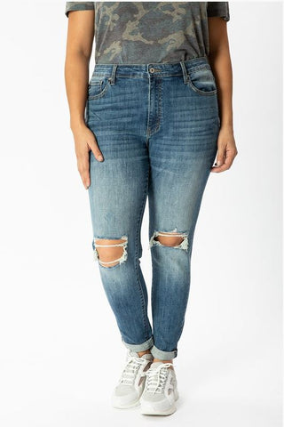 Plus Size Jenna Double Cuff Distressed Denim Jeans by KanCan