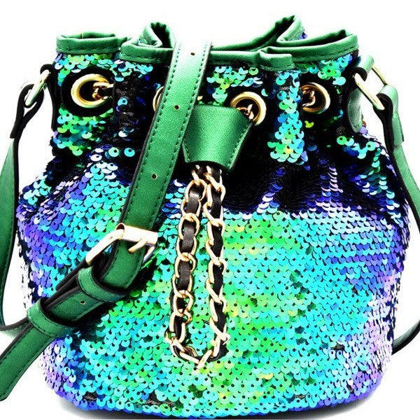 The Sequintessential Sequin Vegan Leather Bucket Bag Rainbow Mermaid Black