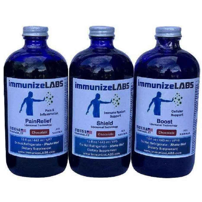 Kit2 (1 PainRelief, 1 Shield, 1 Boost) Liposomal Vitamin C Glutathione