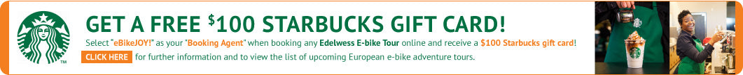 Starbucks $100 Free Gift Card for Electric Bike Tours