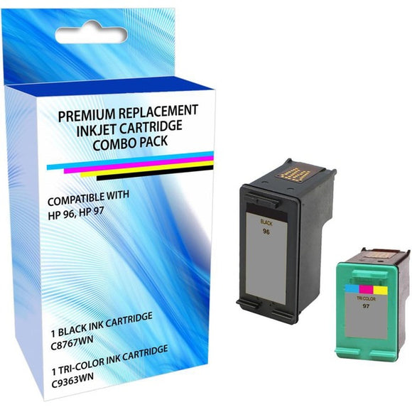 eReplacements C9353FN-ER Remanufactured Ink Cartridge Replacement for HP 96-97 Black-Tricolor Ink Combo Pack
