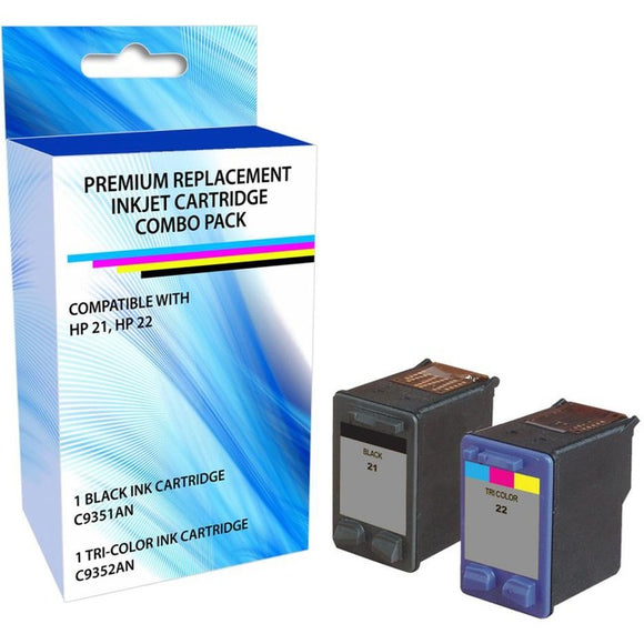 eReplacements C9509BN-ER Remanufactured Ink Cartridge Replacement for HP 21 22 Black-Tricolor Combo Pack
