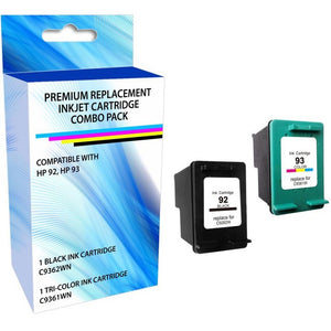 eReplacements C9513BN-ER Remanufactured Ink Cartridge Replacement for HP 92-93 Black and Tricolor Combo Pack