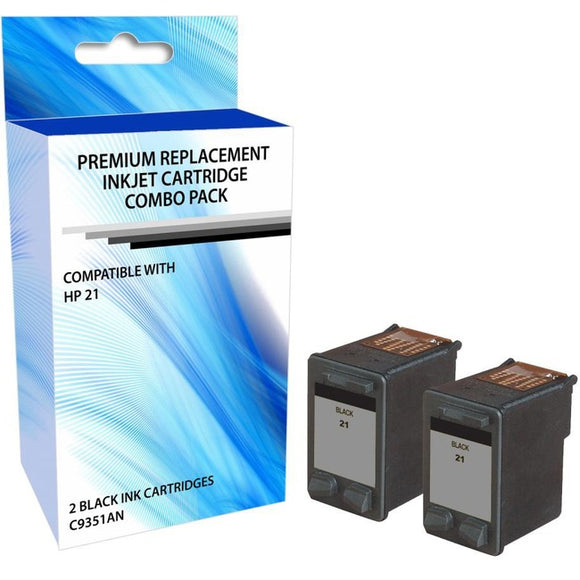 eReplacements C9805BN-ER Remanufactured Ink Cartridge Replacement for HP 21 Black Ink 2 Pack