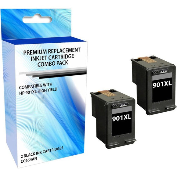 eReplacements CZ721BN-ER Remanufactured Ink Cartridge Replacement for HP 901XL High Yield Black Ink Cartridge 2 Pack