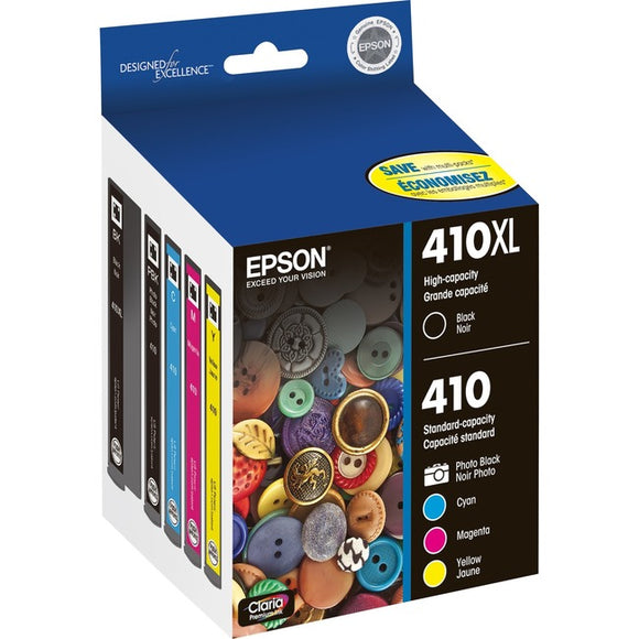 Epson Claria 410XL Ink Cartridge - Photo Black, Cyan, Magenta, Black