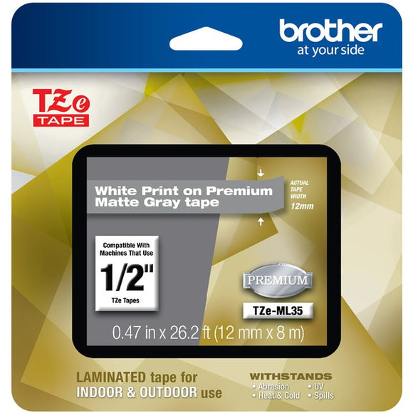 Brother P-touch TZe-ML35 White Print on Premium Matte Gray Laminated Tape 12mm (0.47