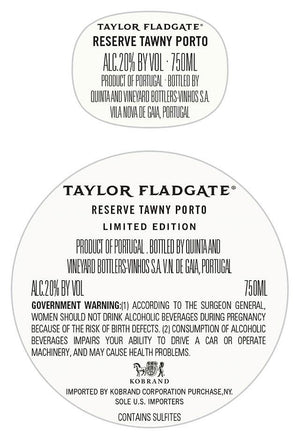 Taylor Fladgate 325th Anniversary Reserve Tawny Port Back Label