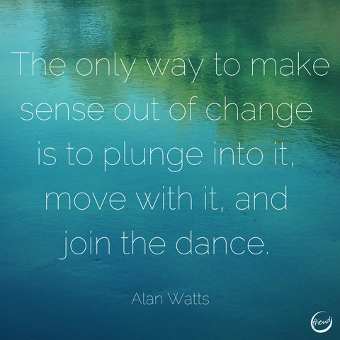 The only way to make sense out of change is to plunge into it, move with it, and join the dance. Alan Watts