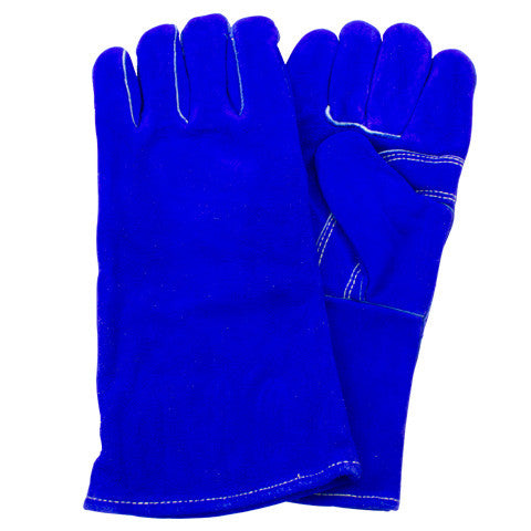 """A"" Grade Gunn Cut Blue Leather Welders Glove with Kevlar Stitching"