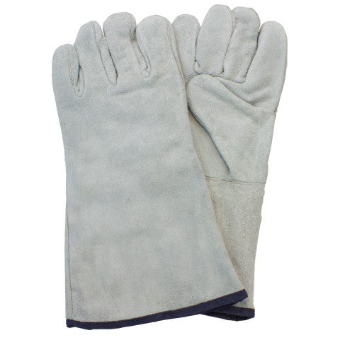 """A/B"" Grade Gunn Cut Gray Leather Welders Gloves by The Safety Zone - JaniDepot"
