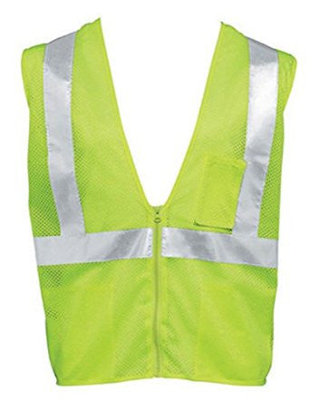 HiViz Polyester All Mesh Class 2 Safety Vest with Non-Conductive and Non-Caustic Zipper by Liberty Glove - JaniDepot