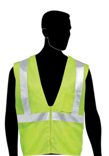 "HiViz Polyester All Mesh Class 2 Safety Vest with 2"" Wide Silver Reflective Stripes and 1 Pocket by Liberty Glove - JaniDepot"