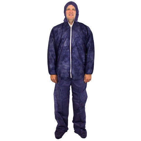 Blue 28 Gram Polypropylene Coverall Hood Boots & Elastic Wrist by The Safety Zone - JaniDepot