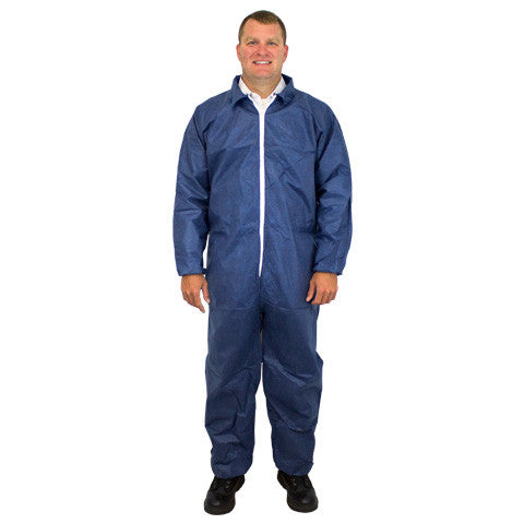 50 Gram SMS Polypropylene Coverall Elastic Wrists & Ankles (White & Blue) by The Safety Zone - JaniDepot