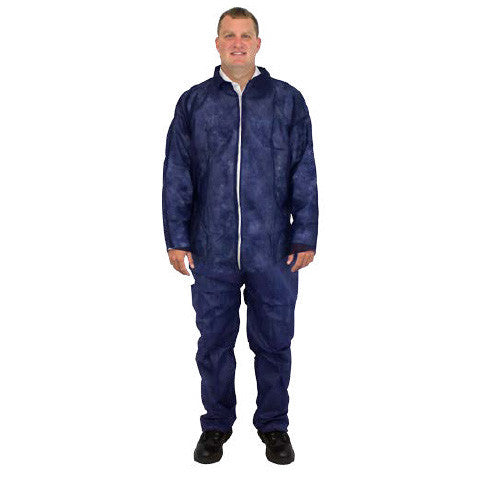 Blue 28 Gram Polypropylene Coverall No Hood or Elastic Wrists by The Safety Zone - JaniDepot