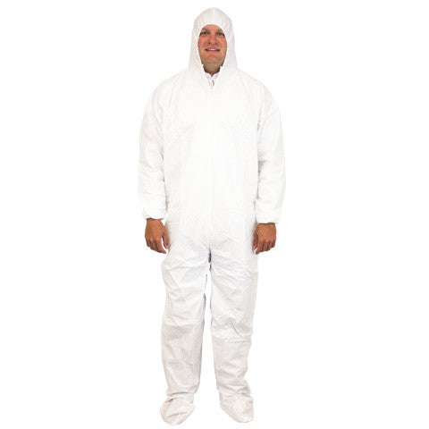 White Disposable Polypropylene Coverall, Hood, Boots & Elastic Wrist, 25/CS, MD-5X - Sold by the Case by The Safety Zone - JaniDepot