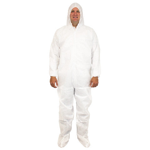 White 50 Gram SMS Polypropylene Coverall, Hood, Boots & Elastic Wrist, 25/CS, LG-5X - Sold by the Case by The Safety Zone - JaniDepot