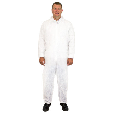 White 40 Gram Polypropylene Coverall, Elastic Wrists & Ankles, 25/CS, MD-5X - Sold by the Case by The Safety Zone - JaniDepot
