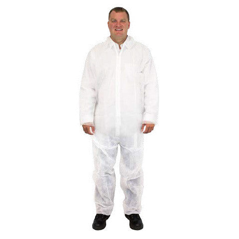 White Disposable Polypropylene Coverall, No Hood or Elastic, 25/CS, MD-5X - Sold by the Case by The Safety Zone - JaniDepot