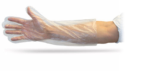 "18"" Clear Polyethylene Powder Free Gloves by The Safety Zone - JaniDepot"