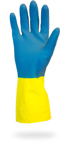 "28 MIL 12"" Blue Neoprene Over Yellow Flock Lined Latex Gloves by The Safety Zone - JaniDepot"