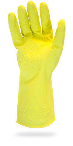 16 MIL Yellow Flock Lined Latex Gloves by The Safety Zone - JaniDepot
