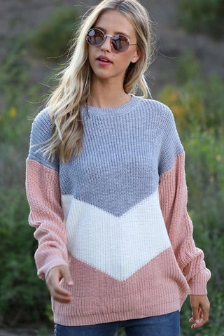 Grey Blush Color Block Sweater