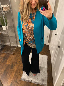 Open Front Cardigan Turquoise