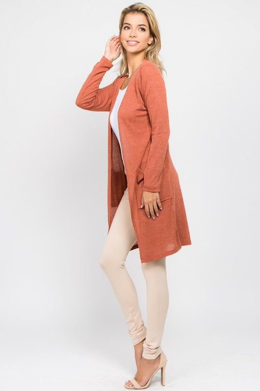 Copper Long Line Pocket Cardigan