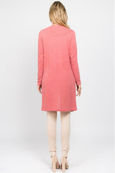 Long Line Cardigan Brick Red