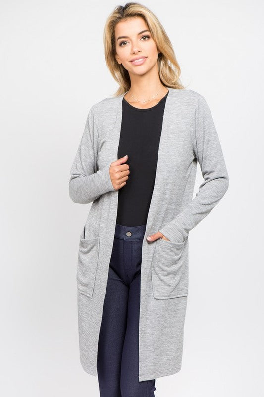 Heather Grey Long Line Pocket Cardigan