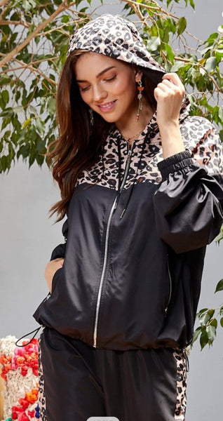 Black Full Zip Leopard Hooded Windbreaker