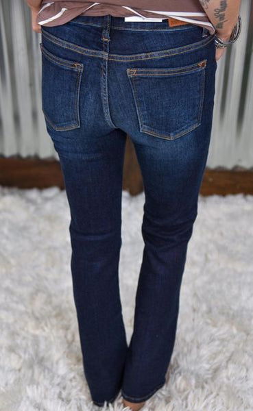 Judy Blue Dark Wash Whiskered Bootcut Jean