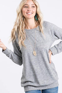 Heather Grey Solid Basic Sweater Top