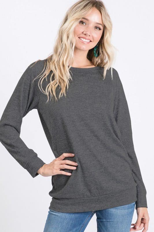 Charcoal Solid Basic Sweater Top