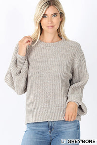 Light Grey Solid Chunky Knit Balloon Sleeve Sweater