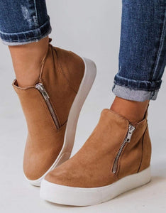 Tan Wedge Sneaker Bootie