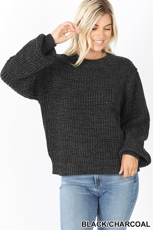 Black Solid Chunky Knit Balloon Sleeve Sweater